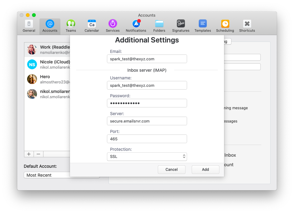 Additional email server settings