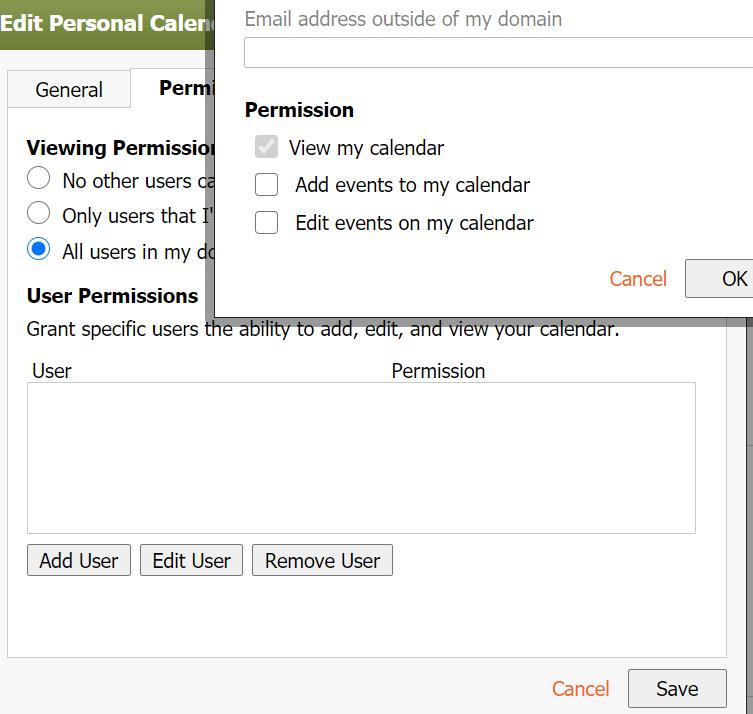 Add calendar user