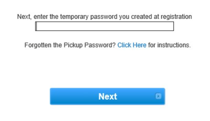 Pickup password for encrypted email