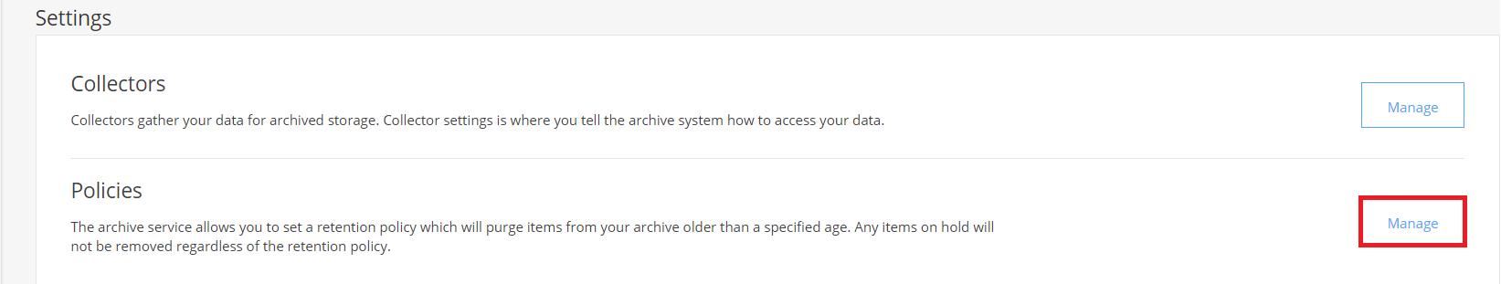 Archive retention