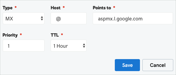 Image of the GoDaddy TTL field. The image shows a screen with TTL field, indicating that the user should leave the default value.