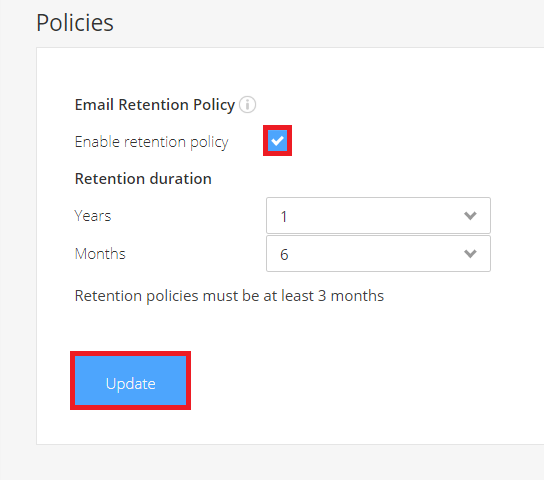 Email archiving retention