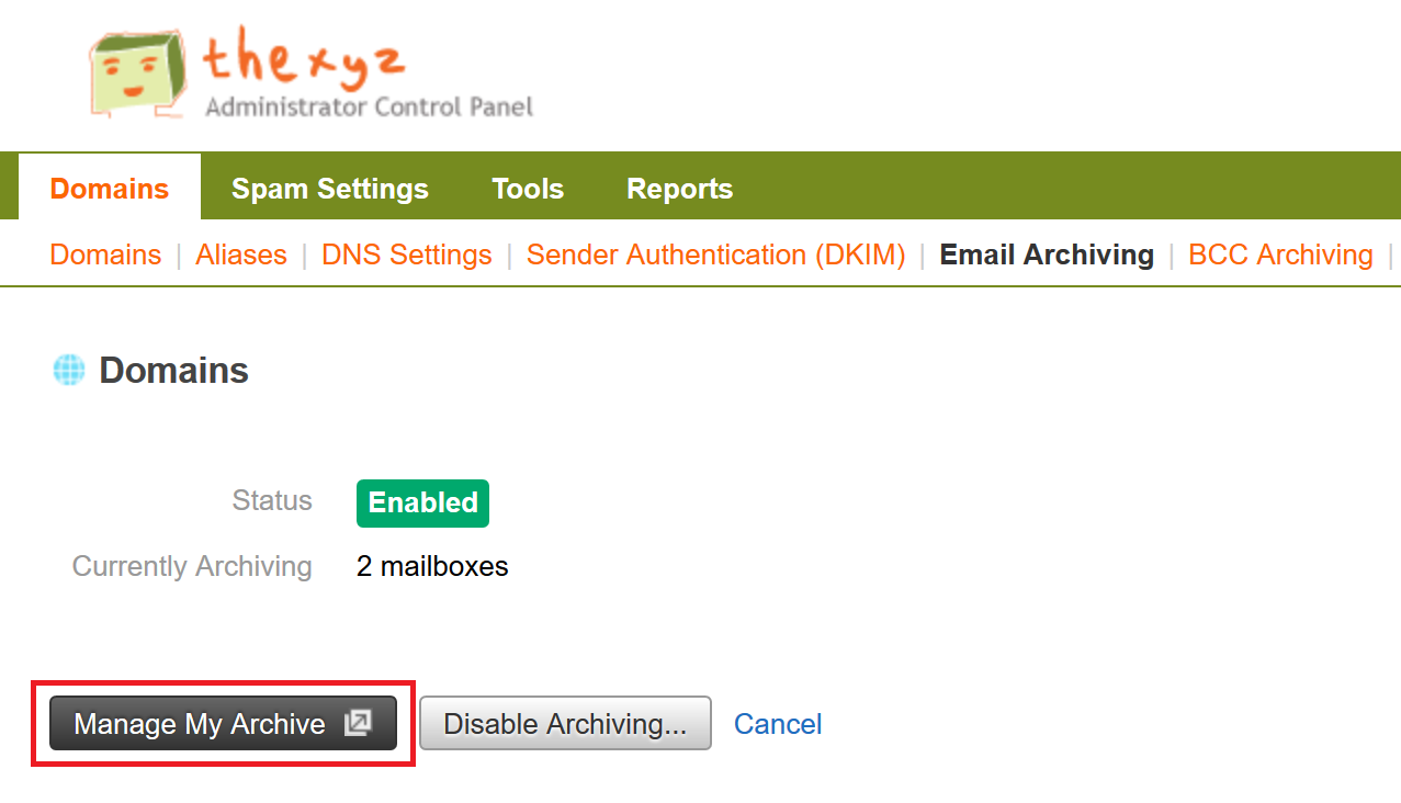 Email Archiving portal access