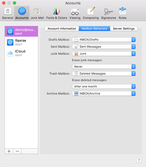 Account settings on Mac Mail
