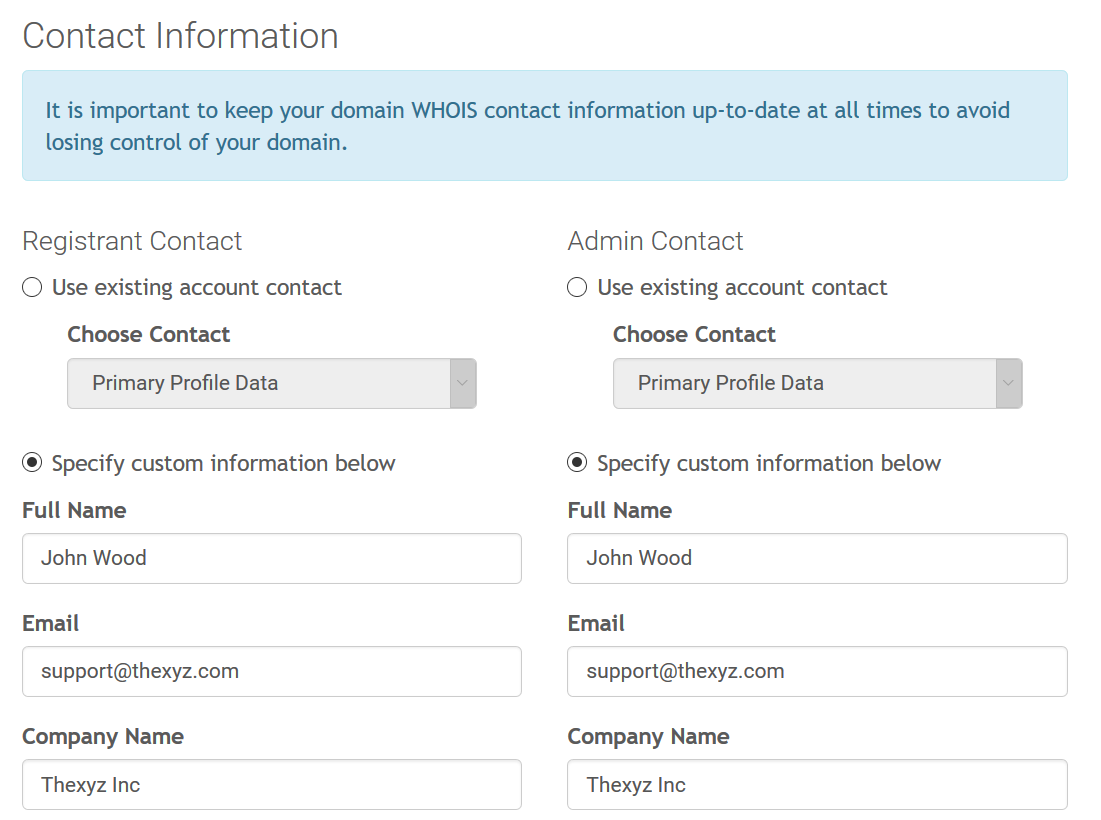 Domain Whois Contact