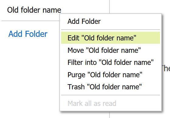 Editing an folder in Webmail