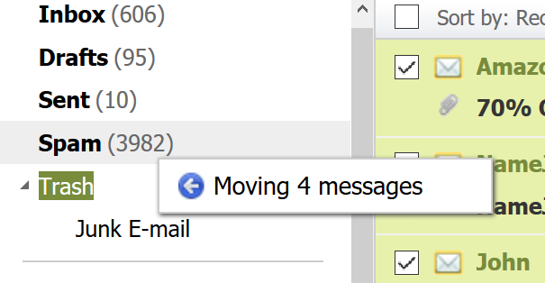 Dragging messages into folder