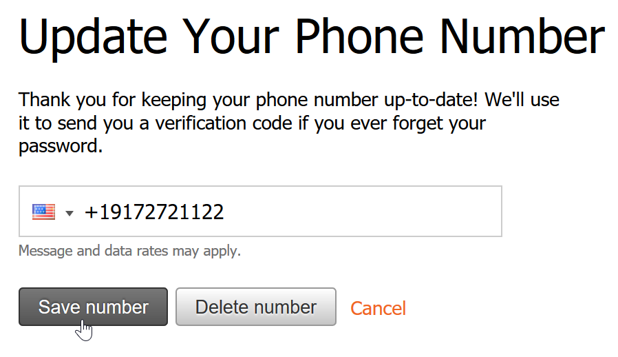 Enter a mobile phone number for SMS reset