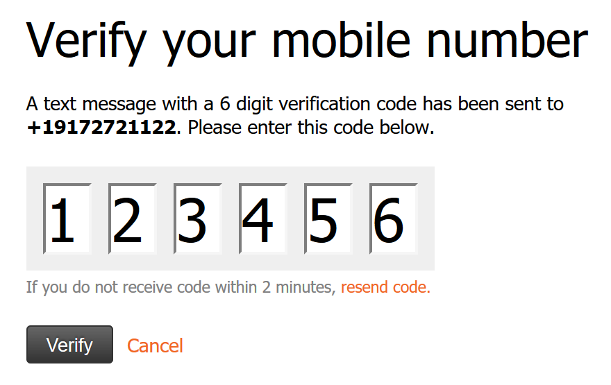 Enter the text message code