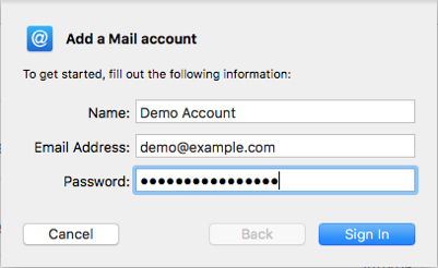 Add mail account on Mac Mail