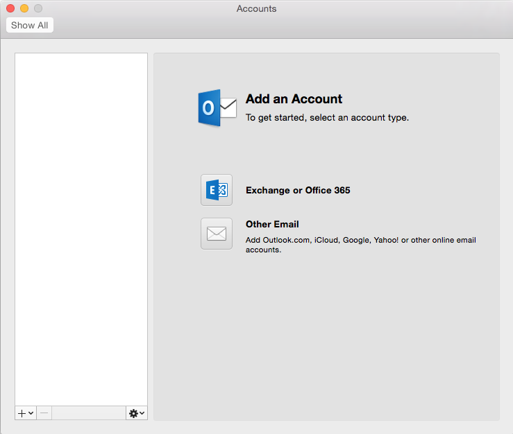 Add account on Outlook