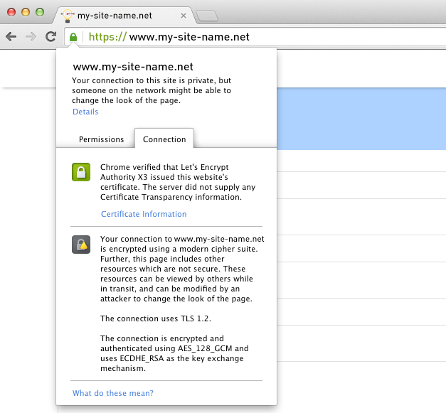Let's Encrypt - browser encryption info